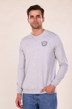 Свитшот мужской с вышивкой 3033  (серый)